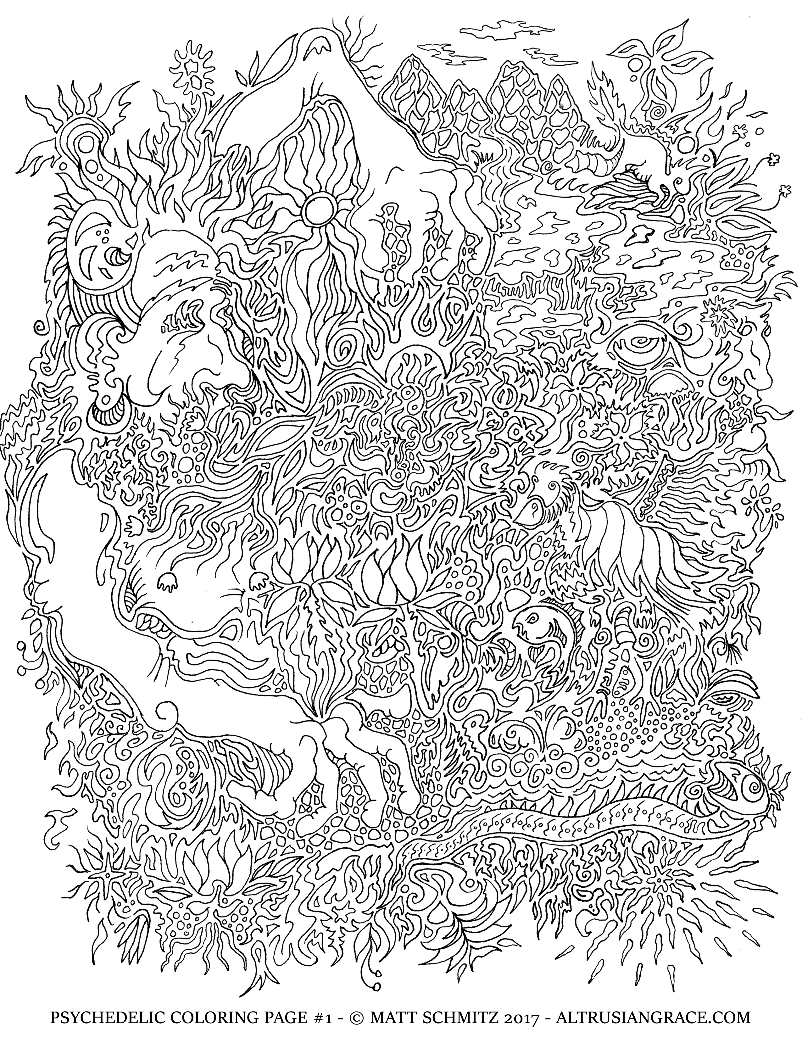 psychedelic coloring pages Psychedelic Coloring Page #1 – The Grimerica Show psychedelic coloring pages